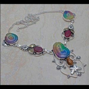 Rainbow Solar Quartz, Ruby, Citrine Necklace